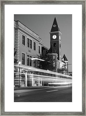 Fayetteville Arkansas Skyline At Night In Black And White Framed Print
