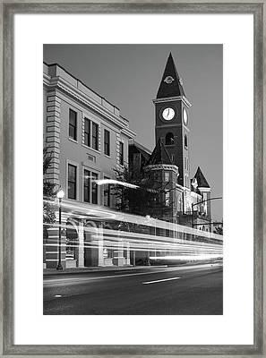 Fayetteville Arkansas Skyline At Night In Black And White Framed Print