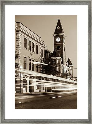 Fayetteville Arkansas Skyline At Night In Sepia Framed Print
