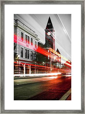 Fayetteville Arkansas Skyline - Selective Color Light Trails Framed Print