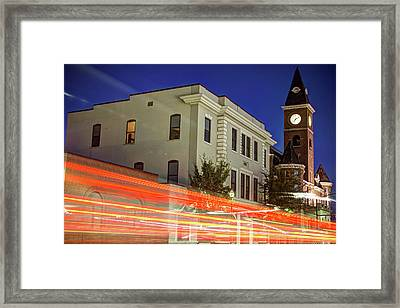 Fayetteville Skyline Long Exposure At Dusk Framed Print
