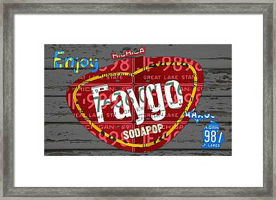 Faygo Soda Pop Recycled Vintage Michigan License Plate Art On Gray Distressed Barn Wood Framed Print by Design Turnpike