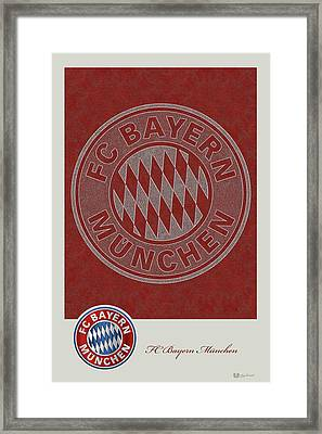 Fc Bayern Munich Logo And 3d Badge Framed Print