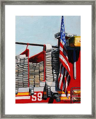 Fdny Engine 59 American Flag Framed Print by Paul Walsh