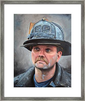 Fdny Lieutenant Framed Print by Paul Walsh