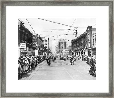 Fdr Arrives In Dallas Framed Print by Underwood Archives