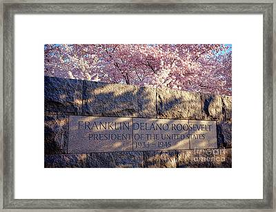 Fdr Memorial Marker In Washington D.c. Framed Print