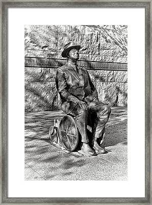 Fdr Memorial Sculpture In Wheelchair Framed Print by Olivier Le Queinec