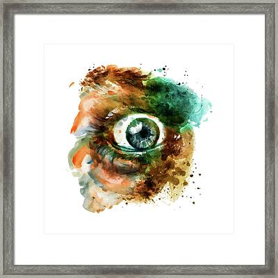 Fear Eye Watercolor Framed Print by Marian Voicu