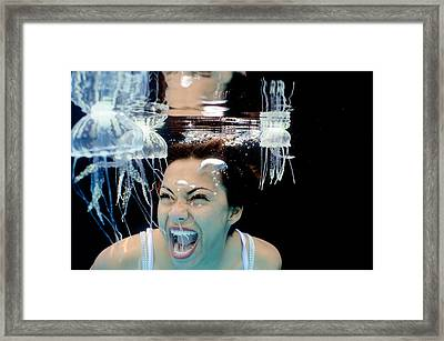 Fear Of The Jellies Framed Print by Adolfo Maciocco