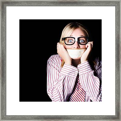 Fearful Business Nerd Silenced With Mouth Tape Framed Print