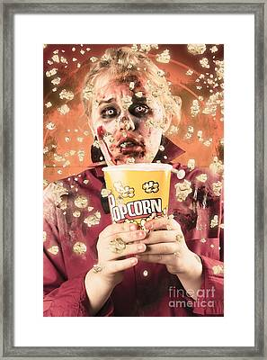 Fearful Zombie Watching Slasher Flick. Scary Film Framed Print