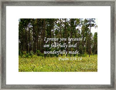 Fearfully And Wonderfully Made Framed Print by Eloise Schneider