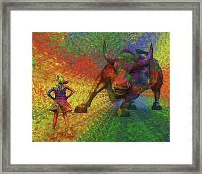 Fearless Girl And The Bull Framed Print