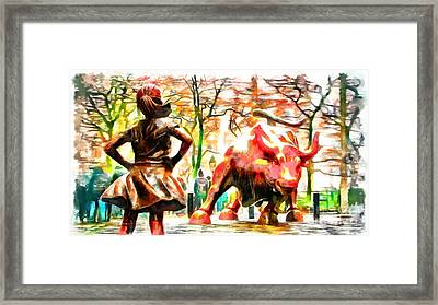 Fearless Girl And Wall Street Bull Statues 10 Framed Print
