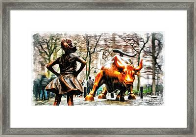 Fearless Girl And Wall Street Bull Statues 11 Framed Print