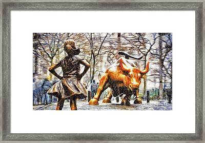 Fearless Girl And Wall Street Bull Statues 12 Framed Print