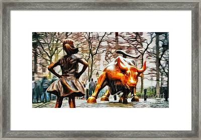 Fearless Girl And Wall Street Bull Statues 13 Framed Print