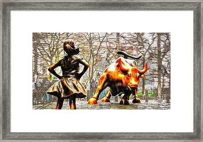 Fearless Girl And Wall Street Bull Statues 14 Framed Print