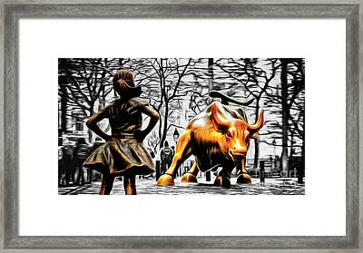 Fearless Girl And Wall Street Bull Statues 15 Framed Print