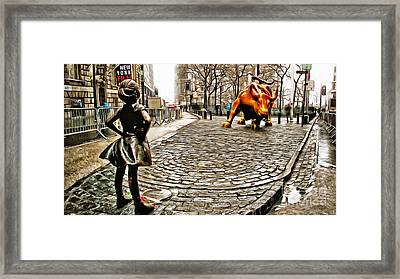 Fearless Girl And Wall Street Bull Statues 2 Framed Print