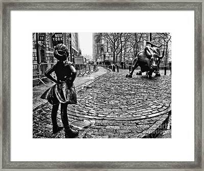 Fearless Girl And Wall Street Bull Statues 3 Bw Framed Print