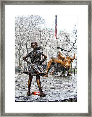 Fearless Girl And Wall Street Bull Statues 4 Framed Print