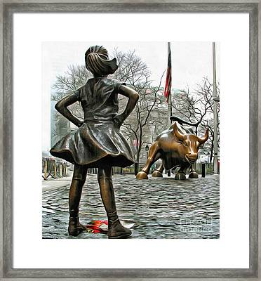 Fearless Girl And Wall Street Bull Statues 5 Framed Print