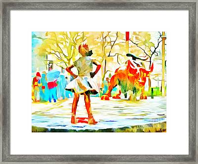 Fearless Girl And Wall Street Bull Statues 6 Watercolor Framed Print