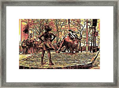 Fearless Girl And Wall Street Bull Statues 7 Monochrome Framed Print