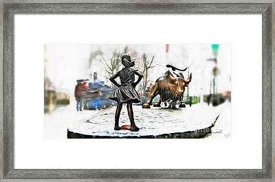Fearless Girl And Wall Street Bull Statues 8 Framed Print