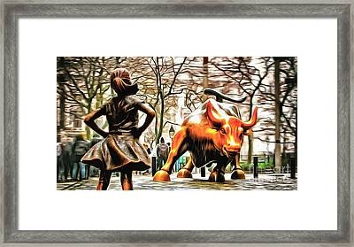 Fearless Girl And Wall Street Bull Statues 9 Framed Print