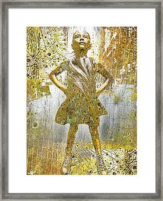 Fearless Girl By Kristen Visbal Framed Print by Tony Rubino