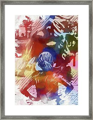 Framed Print featuring the mixed media Fearless Girl Wall Street by Dan Sproul