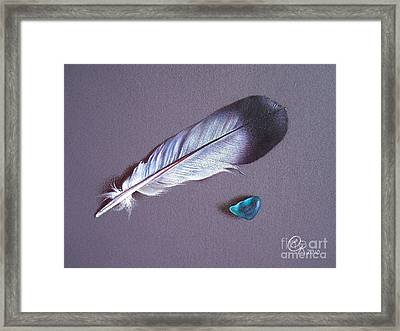 Feather And Sea Glass 1 Framed Print by Elena Kolotusha
