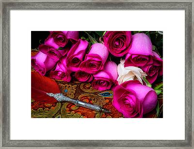 Feather Pen And Roses Framed Print
