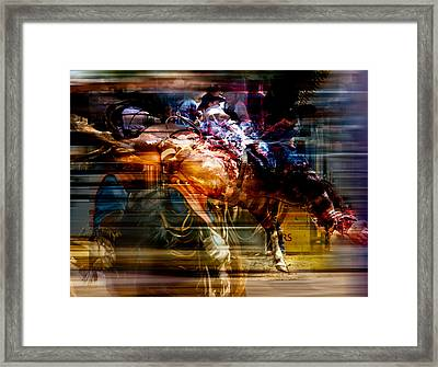 Feathered Bronc Rider Framed Print by Mark Courage