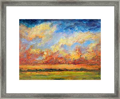 Framed Print featuring the painting Feathered Sky by Mary Schiros