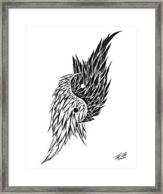 Feathered Ying Yang  Framed Print