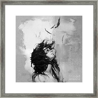 Feathers From Hair Framed Print by Gull G