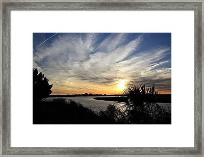 Feathery Clouds At Sunset Framed Print by Rosanne Jordan