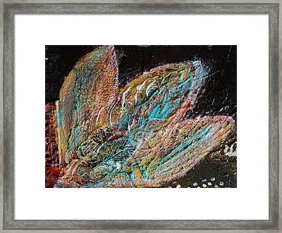 Feathery Leaves In Fantasy Blues Framed Print by Anne-Elizabeth Whiteway