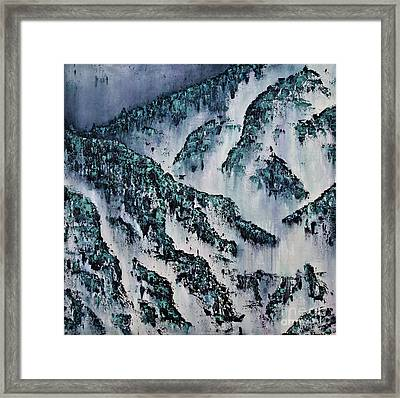 February Rock Mist And Rain Framed Print by Kamil Swiatek