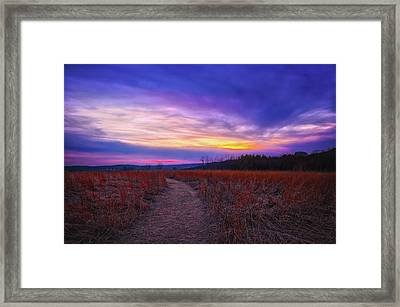 February Sunset And Path At Retzer Nature Center Framed Print