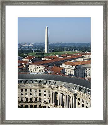 Federal Buildings - The Washington Monument And The National Mall - Washington Dc Framed Print by Brendan Reals