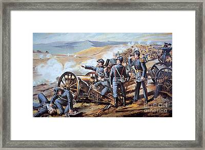 Federal Field Artillery In Action During The American Civil War  Framed Print