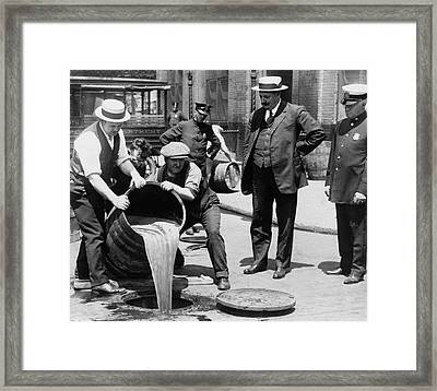Feds Dump Prohibition Beer In Sewer C. 1925 Framed Print by Daniel Hagerman