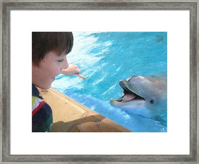 Feeding A Friend Framed Print