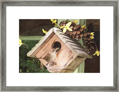 Framed Print featuring the digital art Feeding Birds by Barbara S Nickerson