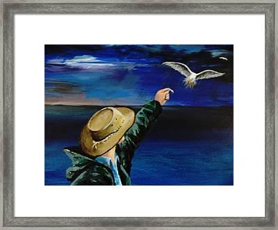 Feeding My Gull Friend Framed Print